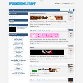 Passlist.net - The Best XXX pass Topsites - Rankings - All Sites
