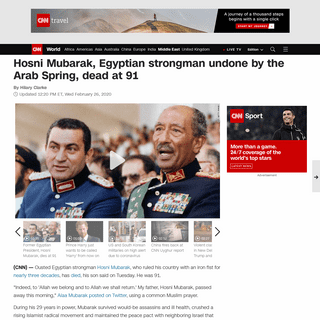 Hosni Mubarak, Egyptian strongman undone by the Arab Spring, dies at 91 - CNN