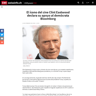 El ícono del cine Clint Eastwood declara su apoyo al demócrata Bloomberg - SWI swissinfo.ch