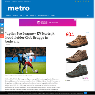 Jupiler Pro League - KV Kortrijk houdt leider Club Brugge in bedwang - Metro