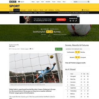 Southampton 1-2 Burnley- Matej Vydra goal boosts Clarets' European hopes - BBC Sport