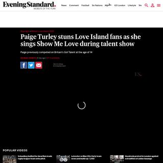 ArchiveBay.com - www.standard.co.uk/stayingin/winter-love-island/paige-turley-singing-talent-show-a4367861.html - Paige Turley stuns Love Island fans as she sings Show Me Love during talent show - London Evening Standard
