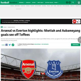 ArchiveBay.com - www.football.london/arsenal-fc/arsenal-vs-everton-live-tv-17791221 - Arsenal vs Everton highlights- Nketiah and Aubameyang goals see off Toffees - football.london