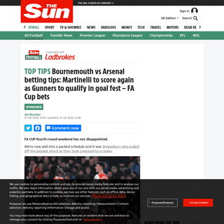 ArchiveBay.com - www.thesun.co.uk/sport/football/10789759/bournemouth-arsenal-betting-tips-today-uk-acca-fa-cup-martinelli/ - Bournemouth vs Arsenal betting tips- Martinelli to score again as Gunners to qualify in goal fest – FA Cup bets – The Sun