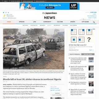 Jihadis kill at least 30, abduct dozens in northeast Nigeria - The Japan Times