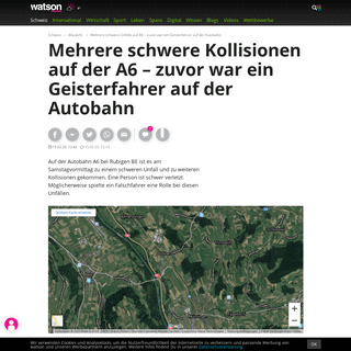 ArchiveBay.com - www.watson.ch/schweiz/blaulicht/409588347-schwerer-unfall-auf-a6-moeglicherweise-wegen-falschfahrer - Mehrere schwere Unfälle auf A6 – zuvor war ein Geisterfahrer auf der Autobahn - watson