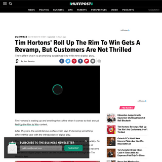 ArchiveBay.com - www.huffingtonpost.ca/entry/tim-hortons-roll-up-the-rim-to-win_ca_5e4d400bc5b6b0f6bff26bf2 - Tim Hortons' Roll Up The Rim To Win Gets A Revamp, But Customers Are Not Thrilled - HuffPost Canada