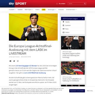 Die Europa League-Achtelfinal-Auslosung mit dem LASK im LIVESTREAM - Sky Sport Austria