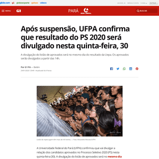 ArchiveBay.com - g1.globo.com/pa/para/noticia/2020/01/29/apos-suspensao-ufpa-confirma-que-resultado-do-ps-2020-sera-divulgado-nesta-quinta-feira-30.ghtml - Após suspensão, UFPA confirma que resultado do PS 2020 será divulgado nesta quinta-feira, 30 - Pará - G1
