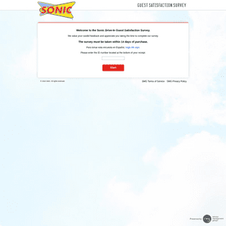 Sonic Drive-In Guest Satisfaction Survey - Welcome