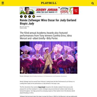 Renée Zellweger Wins Oscar for Judy Garland Biopic Judy - Playbill