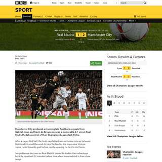 ArchiveBay.com - www.bbc.co.uk/sport/football/51634157 - Real Madrid 1-2 Manchester City- Gabriel Jesus & Kevin de Bruyne give City win in first leg - BBC Sport
