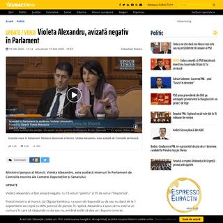 Violeta Alexandru, avizată negativ în Parlament - EurActiv