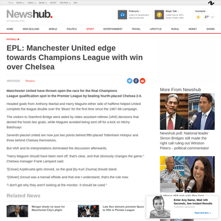 EPL- Manchester United edge towards Champions League with win over Chelsea - Newshub