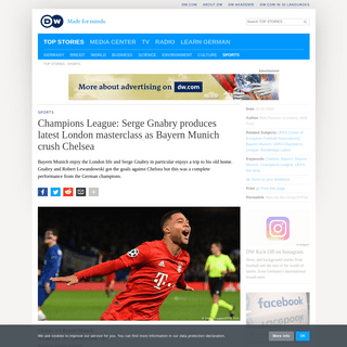 Champions League- Serge Gnabry produces latest London masterclass as Bayern Munich crush Chelsea - Sports- German football and m