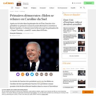 Primaires démocrates- Biden se relance en Caroline du Sud