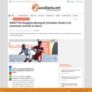 DIRETTA- Reggina Monopoli (risultato finale 0-2)- amaranto travolti in dieci!