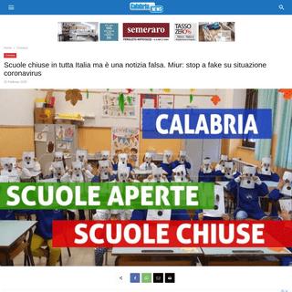 Scuole chiuse in tutta Italia ma è una notizia falsa. Miur- stop a fake su situazione coronavirus - Calabria News
