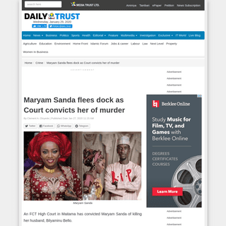Maryam Sanda flees dock as Court convicts her of murder – Daily Trust