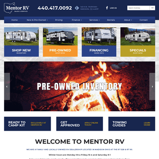 Mentor RV - New & Used RV Sales, Service, and Parts in Madison, OH, near Perry, Geneva, Thompson and Austinburg
