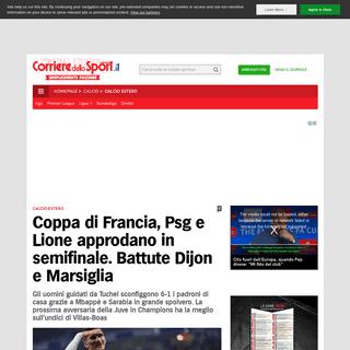 Coppa di Francia, Psg e Lione approdano in semifinale. Battute Dijon e Marsiglia - Corriere dello Sport