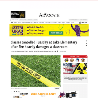 Classes cancelled Tuesday at Lake Elementary after fire heavily damages a classroom - News - theadvocate.com