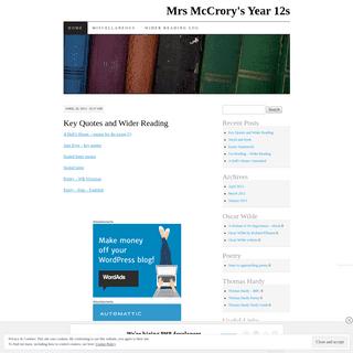 Mrs McCrory's Year 12s - Victorian Literature