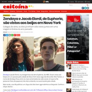 Exitoína · Zendaya e Jacob Elordi, de Euphoria, são vistos aos beijos em Nova York
