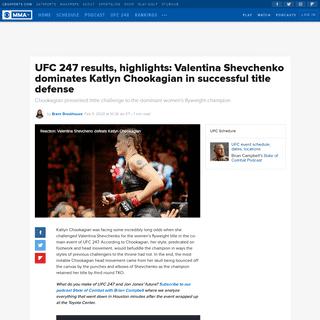 UFC 247 results, highlights- Valentina Shevchenko dominates Katlyn Chookagian in successful title defense - CBSSports.com