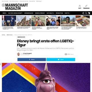 Disney bringt erste offen LGBTIQ-Figur