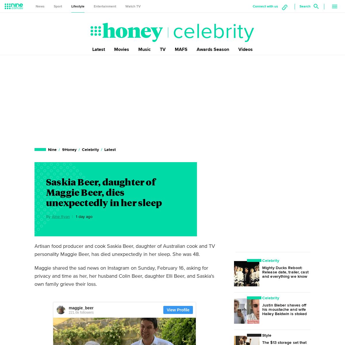 Maggie Beer's daughter, cook Saskia Beer, dies unexpectedly in her sleep - 9Celebrity