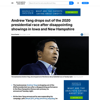 Andrew Yang drops out of the presidential race after New Hampshire - Business Insider