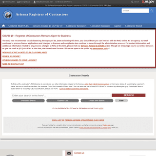 Contractor Search - Arizona Registrar of Contractors