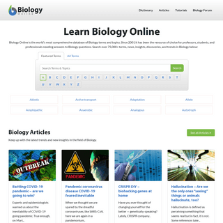Learn Biology Online - Biology Articles, Tutorials & Dictionary Online
