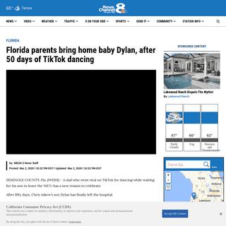 Florida parents bring home baby Dylan, after 50 days of TikTok dancing - WFLA