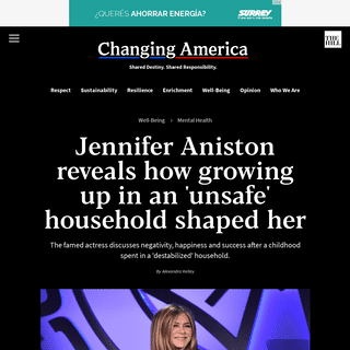 Jennifer Aniston reveals how growing up in an 'unsafe' household shaped her - TheHill