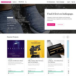 Crowdfund Innovations & Support Entrepreneurs - Indiegogo