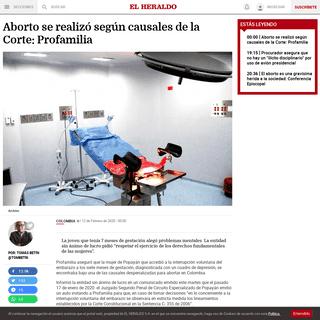 Aborto se realizó según causales de la Corte- Profamilia - El Heraldo