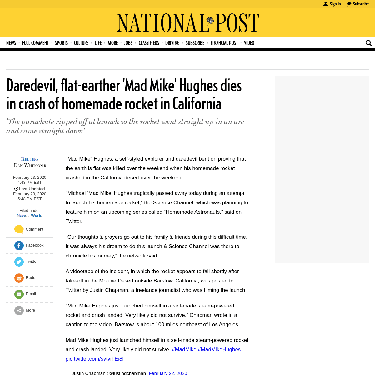Daredevil, flat-earther 'Mad Mike' Hughes dies in crash of homemade rocket in California - National Post