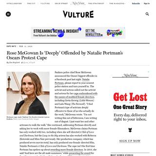 Rose McGowan Calls Natalie Portman's Oscars Cape 'Offensive'