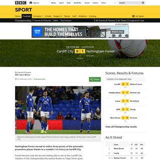 Cardiff City 0-1 Nottingham Forest- Tiago Silva goal seals Forest win - BBC Sport