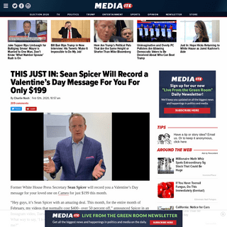 ArchiveBay.com - www.mediaite.com/politics/this-just-in-sean-spicer-will-record-a-valentines-day-message-for-you-for-only-199/ - Sean Spicer Will Record You a Valentine's Day Video For $199