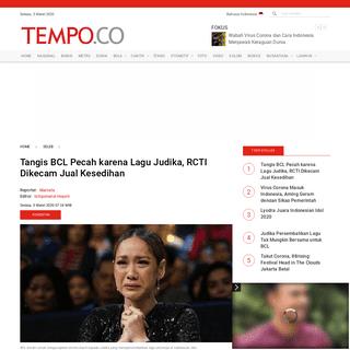 Tangis BCL Pecah karena Lagu Judika, RCTI Dikecam Jual Kesedihan - Seleb Tempo.co