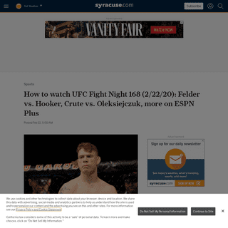 ArchiveBay.com - www.syracuse.com/sports/2020/02/how-to-watch-ufc-fight-night-168-22220-felder-vs-hooker-crute-vs-oleksiejczuk-more-on-espn-plus.html - How to watch UFC Fight Night 168 (2-22-20)- Felder vs. Hooker, Crute vs. Oleksiejczuk, more on ESPN Plus - syracuse.com