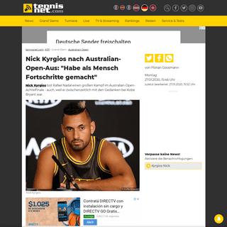 Nick Kyrgios nach Australian-Open-Aus- -Habe als Mensch Fortschritte gemacht- · tennisnet.com