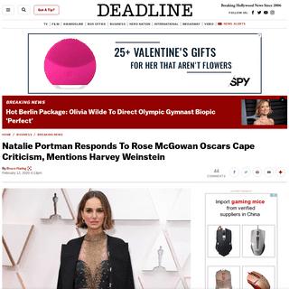 Natalie Portman Responds To Rose McGowan Oscars Cape Criticism – Deadline