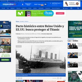 Pacto histórico entre Reino Unido y EE.UU. busca proteger al Titanic - Cooperativa.cl