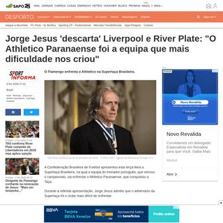Jorge Jesus 'descarta' Liverpool e River Plate- -O Athletico Paranaense foi a equipa que mais dificuldade nos criou- - Brasil -