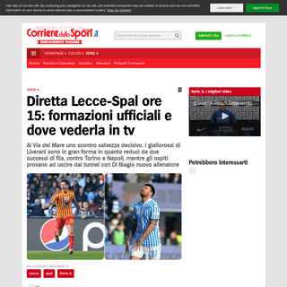 Diretta Lecce-Spal ore 15- formazioni ufficiali e dove vederla in tv - Corriere dello Sport