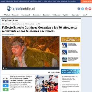 Falleció Ernesto Gutiérrez González a los 70 años, actor recurrente en las teleseries nacionales - TV y Espectáculo - BioBi
